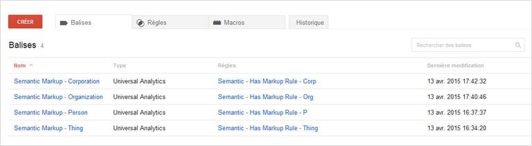 Définition des balises sur Google Tag Manager pour le suivi des données structurées