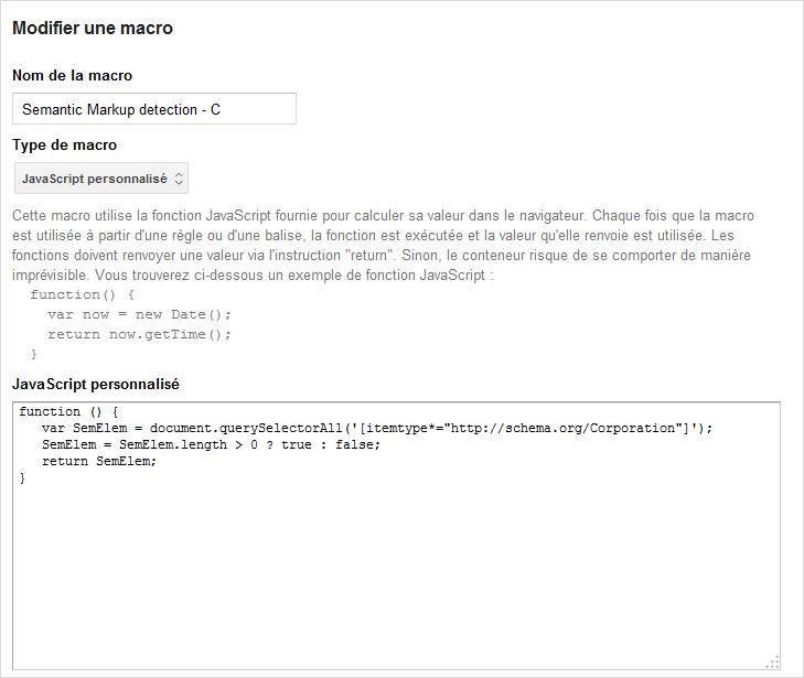 Creation de macro sous Google Tag Manager