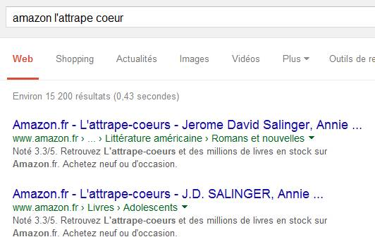 Amazon SERPS au 14 juillet 2015