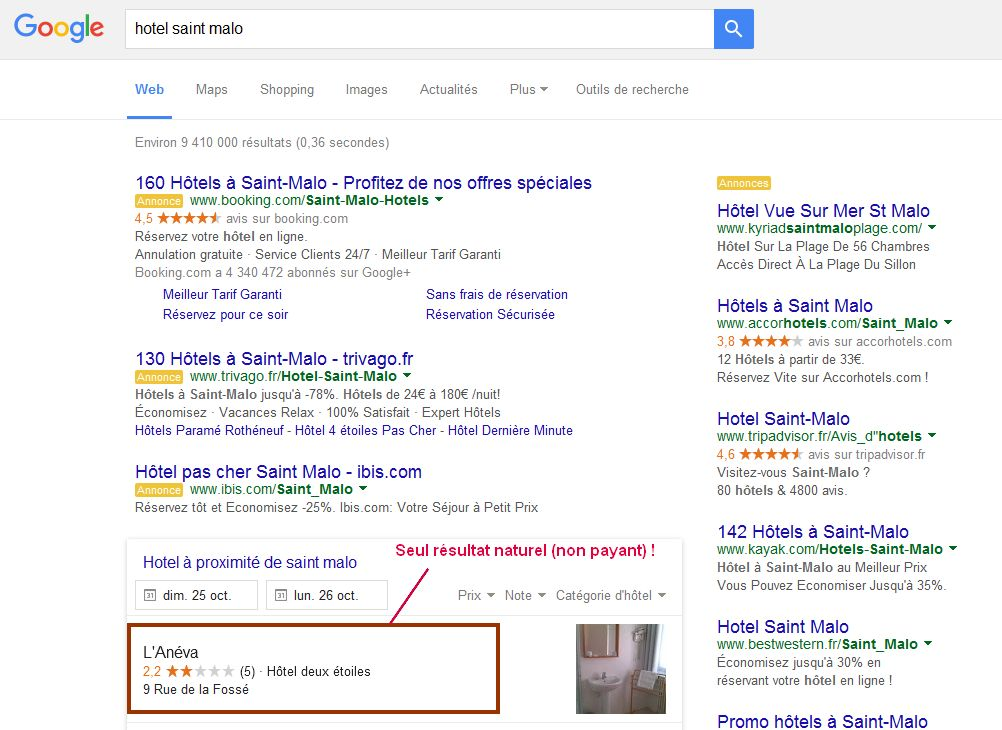 Resultats de recherche Google pour hotel Saint Malo