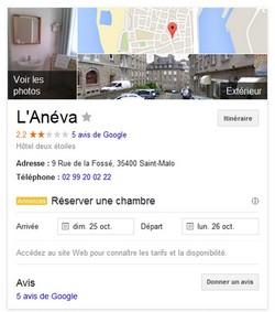 Exemple de fiche Google Plus pour Hotel
