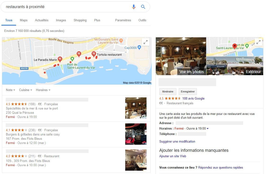 Référencement local de restaurants